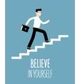 Success in business Businessman climbs up stairs vector image vector image
