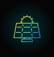 sun and solar panel colorful icon vector image