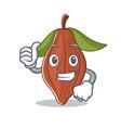 thumbs up cacao bean character cartoon vector image vector image