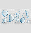 water spills isolated on transparent background vector image vector image