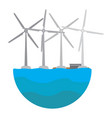 wind tubines on the sea clean energy vector image