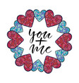 you plus me modern calligraphy print valentines vector image