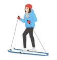 young animation girl skis winter sport