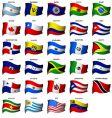 wavy American flags set vector image