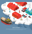 Arctic polar station isometric poster vector image