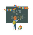 back to school background with a blackboard and a vector image vector image
