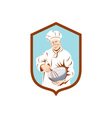 Baker Chef Cook Mixing Bowl Shield Retro vector image vector image