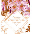 business card with beautiful pink flowers golden vector image