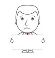 businessman line cartoon face sad expression holdi vector image vector image