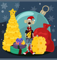 cartoon metal rat with a christmas tree cheese vector image vector image