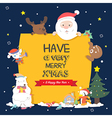 Christmas character holding christmas board vector image vector image