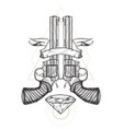 contour image of two revolvers ribbon and diamond vector image vector image