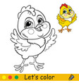 cute chicken coloring with colorful template vector image