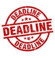 deadline round red grunge stamp vector image vector image