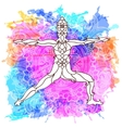 Decorative yoga pose on abstract multicolored