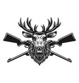 deer head and crossed rifles vector image vector image