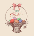 easter eggs wicker basket vector image vector image