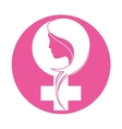 emblem breast cancer ribon with woman vector image vector image