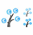 euro technology tree mosaic icon uneven items vector image vector image