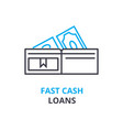 fast cash loans concept outline icon linear vector image