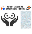 female tits care hands icon with 1300 medical vector image vector image