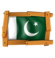 flag of pakistan on wooden frame vector image vector image
