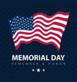 flag usa on blue poster memorial day celebration vector image