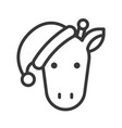 giraffe wearing santa hat outline icon editable vector image vector image