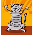 happy tabby cat cartoon vector image vector image