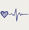 Heart and heartbeat symbol vector | Price: 1 Credit (USD $1)