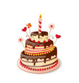 isolated valentines cake vector image vector image