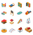 kindergarten play ground isometric icons vector image