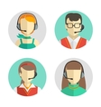 Male and female call center avatars in a flat vector image vector image