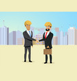 partners handshaking on construction site vector image vector image