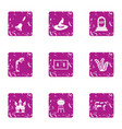 perish icons set grunge style vector image vector image