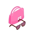 Pink Italian bag and black glasses icon vector image