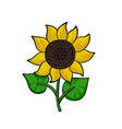 pop art style sunflower sticker vector image vector image