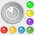 radar icon sign Symbols on eight flat buttons vector image vector image