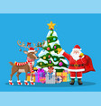 santa claus his reindeer and christmas tree vector image vector image