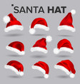 santa hat set santa claus holiday red and vector image vector image