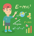 schoolboy writing with chalk on the chalkboard vector image vector image