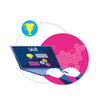 search engine optimization with laptop vector image