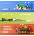 set horizontal banners on horses theme vector image vector image