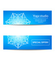 set of banners with white mandala for yoga studio vector image vector image