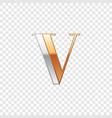 silver and gold font symbol alphabet letter v vector image