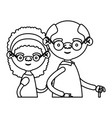 sketch silhouette half body elderly couple in vector image vector image