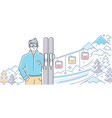 ski resort - modern colorful line design style vector image