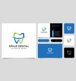 smile dental logo design and business card vector image