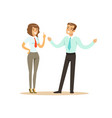 smiling businessman and businesswoman having vector image vector image