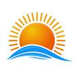 sun over the sea sunrise logo icon vector image vector image